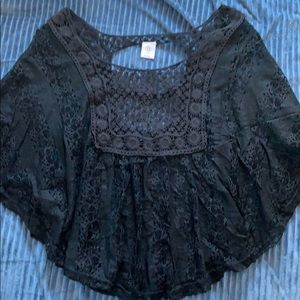 Boho black lace shirt